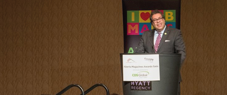 Mayor Nenshi addresses a crowd of more than 200 magazine professionals at the annual Alberta Magazines Awards Gala. Nenshi emphasized the importance of magazines in telling a city's story.