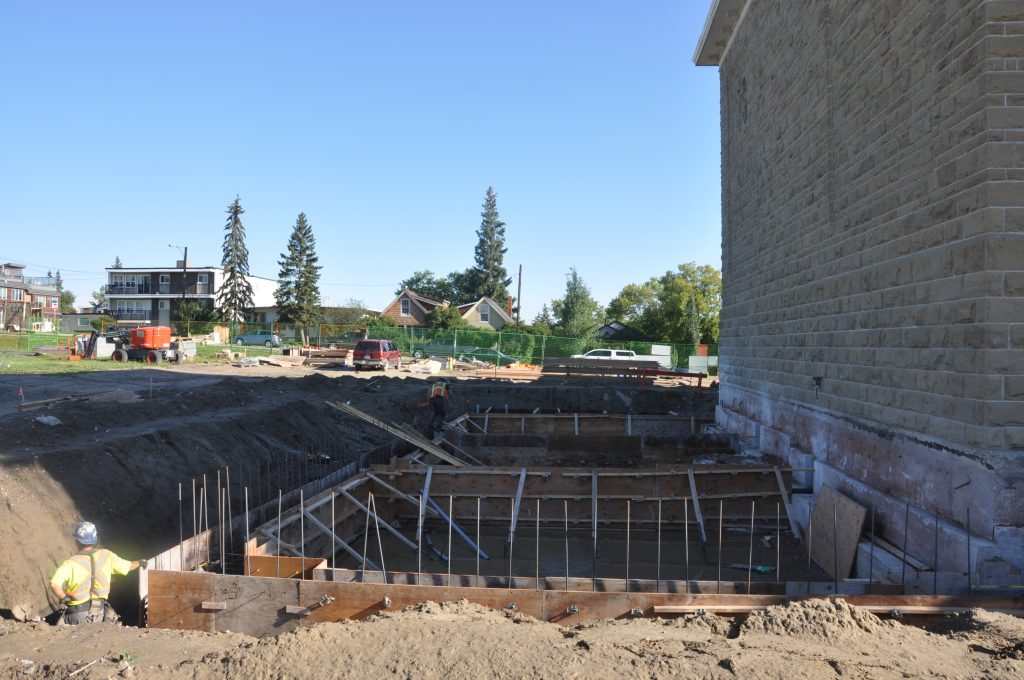 Our first step following demolition of the historic foundations came with new footings totalling 75 cubic meters of concrete in August.